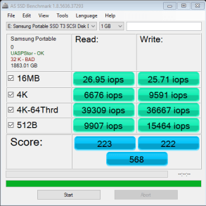 Samsung T3 2TB Portable SSD AS SSD IOPS