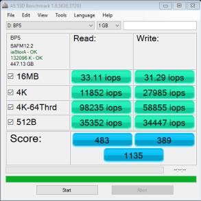 MyDigitalSSD BP5e 480GB M2 SATA 3 SSD AS SSD IOPS