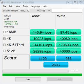 Toshiba XG3 1TB NVMe M.2 SSD AS SSD IOPS