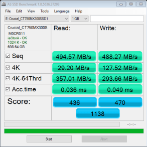 Crucial MX300 750GB Limted Edition AS SSD