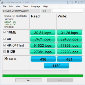 1TB Crucial MX300 as ssd iops