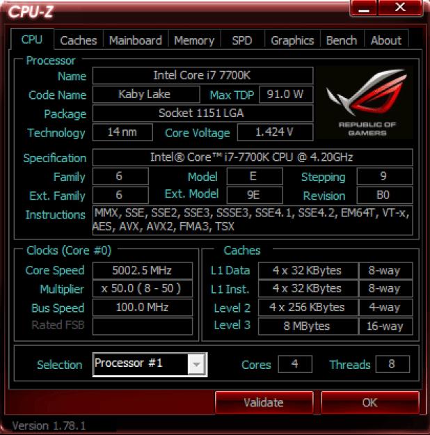 i7-7700K at CPUz 5GHZ CPU