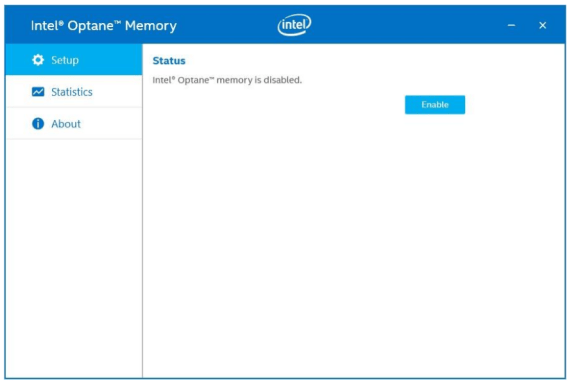 Intel Optane Enable menu