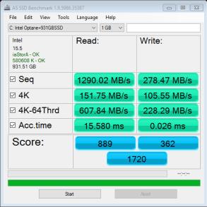Intel Optane 32GB AS SSD Bench