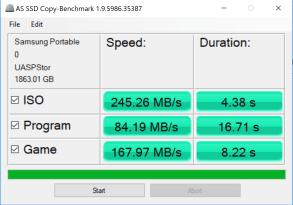 Samsung Portable SSD T5 2TB AS SSD Copy Benchmark
