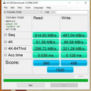 Toshiba TR200 480GB AS SSD