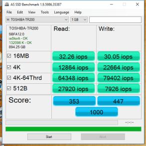 Toshiba TR200 960GB AS SSD IOPS
