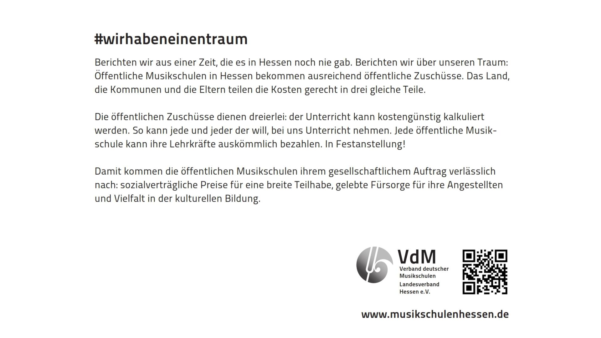 #wirhabeneinentraum   Öffentlichkeitsarbeit für die Musikschulen im VdM Hessen