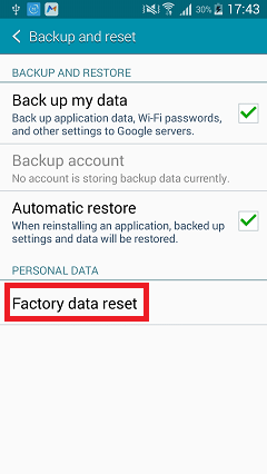 Backup and Reset Android Device