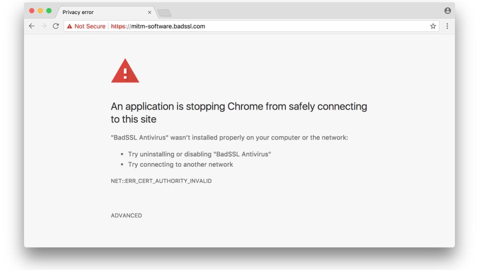 Google Chrome 63 TLS Interception Warning