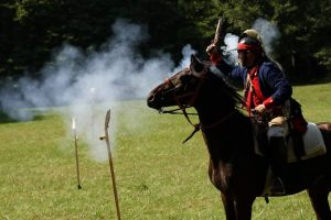 Both horse were rock solid while black powder pistols were shot off them.