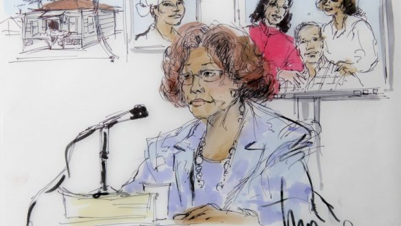 A courtroom sketch depicting the testimony of Katherine Jackson, mother of late pop star Michael Jackson, during her negligence suit against AEG Live.