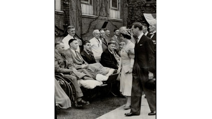 King George VI and Queen Elizabeth appear to be meeting war veterans at a hospital in Toronto during the couples only Canadian tour in May 1939.
