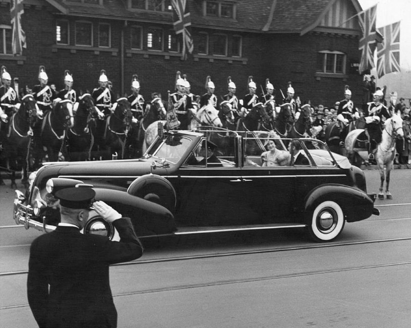 The Horse Guards with King George VI and Queen Elizabeth (the Queen Mother) in Toronto for 9 hours during the Royal Tour of Canada in May 1939.