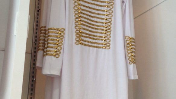 Rita Zekas has her eye on a white tunic with gold braid down the front and sleeves at Voluptous Clothing. It's $110 and made by the Goodtime line.
