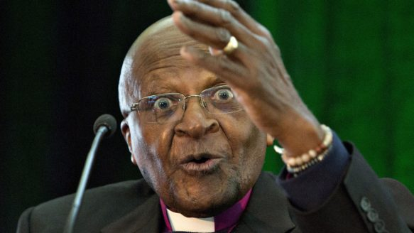 Archbishop Desmond Tutu gives the keynote address during a conference on oilsands development and treaty rights in Fort McMurray, Alta., on Saturday.<br /><br /><br /><br />