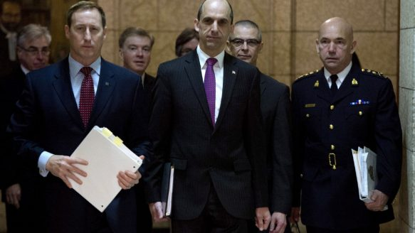 Public Safety Minister Steven Blaney, centre, promised CSIS would not use new powers to target lawful protest or artistic expression.
