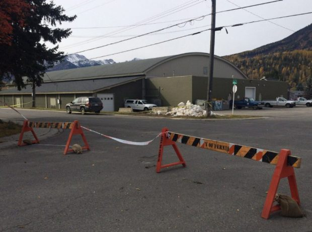 Fernie Memorial Arena is shown in Fernie, B.C. on Wednesday. Fire Chief Ted Ruiter said response crews originally entered the facility Tuesday afternoon and discovered two bodies, but left for safety reasons after performing an interior search.