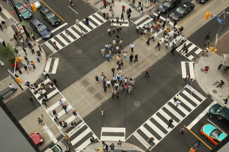 Aerial photo scramble intersection