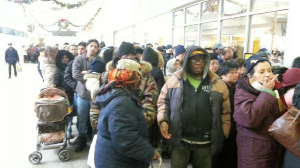 Hundreds of people hit by the ice storm lined up at the Golden Mile Mall for hours found out at mid-morning Thursday that the food vouchers had run out.