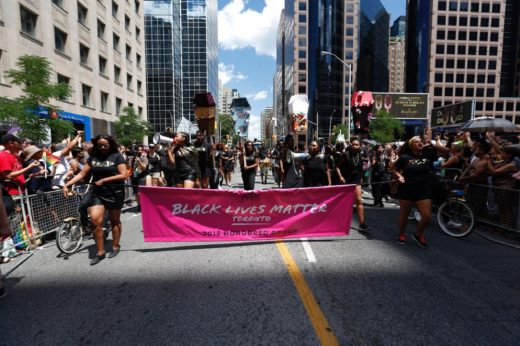 Black Lives Matter near the front of parade start. The annual Pride Parade takes place as it winds its way downtown. This is the final weekend of Pride celebrations for Toronto.