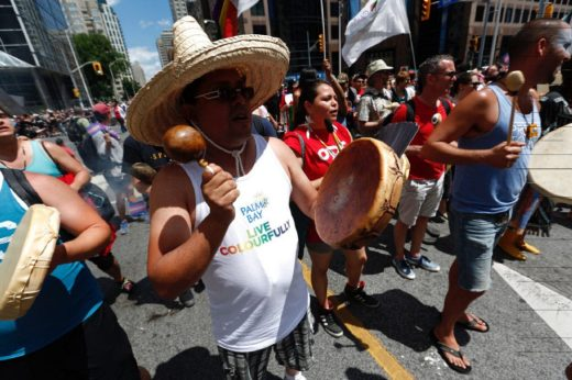 Native groups participate in the annual Pride Parade in Toronto.