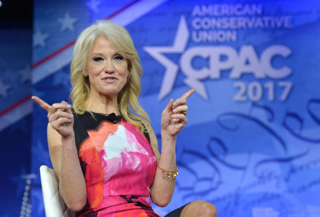 Kellyanne Conway, shown here in a Feb. 23 file photo, clarified that she was not accusing the former president of spying via a kitchen appliance, arguing that her comments had been taken out of context.