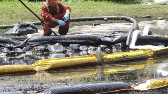 The rupture of an Enbridge pipeline near the Kalamazoo River in Michigan spilled more than 800,000 gallons of crude oil in July 2010. Canadians are worried they have no say in the decision to reverse Enbridge's Line 9B through southern Ontario.