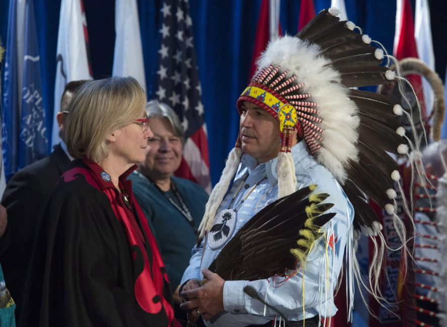 Assembly of First Nations Chief Perry Bellegarde speaks with Indigenous and Northern Affairs Minister Carolyn Bennett before the start of the Assembly of First Nations Special Chiefs assembly in Gatineau, Quebec on Tuesday. Noah Richler writes that the chief of the AFN should be a de facto member of the federal cabinet.