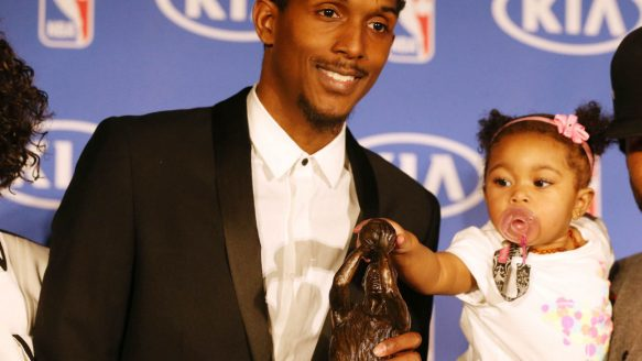 The Raptors' Lou Williams shows off the trophy he won Monday as the NBA's Sixth Man of the Year award. Daugter Zoe certainly seems intrigued by her dad's new hardware.