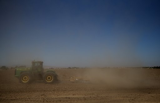 A tractor kicks up dust in Los Banos, California as the state suffers through a third straight year of drought, with reservoirs at record lows and fields in the central valley sitting unplanted.