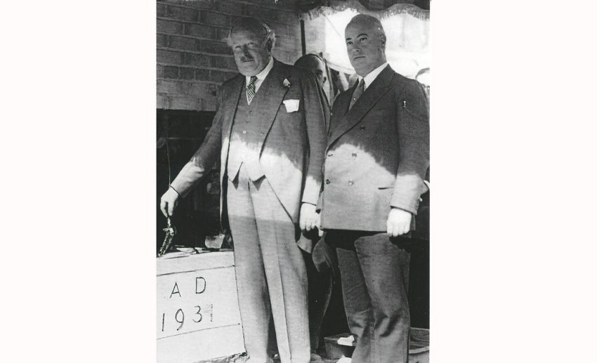 J.P. Bickell lays the cornerstone of Maple Leaf Gardens with Lieutenant-Governor W.D. Ross on Sept. 22, 1931.  How J.P. Bickell helped shape Toronto, from Famous Players to the Maple Leafs mlg
