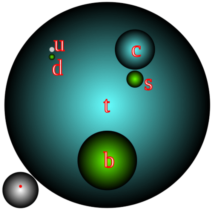 Diagramma di quark, dove la dimensione è rappresentativa della massa. Il quark top è il più grande e il quark down è il più piccolo.