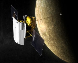 Artist depiction of the MESSENGER spacecraft in orbit around Mercury.
