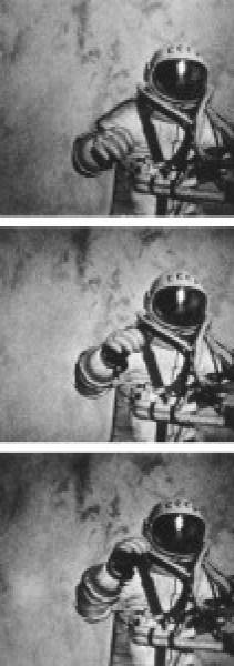 Stills of Alexey Leonov conducting mankind's first spacewalk.