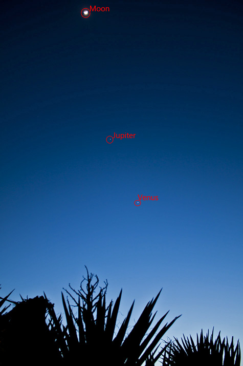 Moon, Jupiter, and Venus conjunction, labeled.