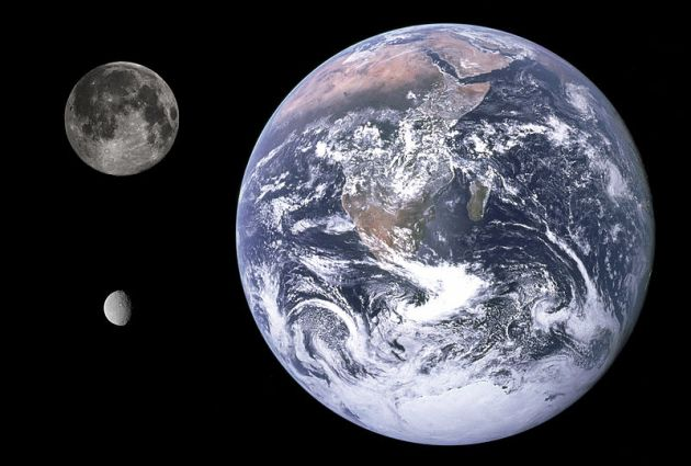 Size comparison of Earth, the Moon, and Ceres.