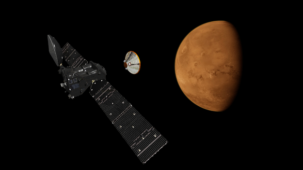 Artist's impression depicting the separation of the ExoMars 2016 entry, descent and landing demonstrator module, named Schiaparelli, from the Trace Gas Orbiter, and heading for Mars.