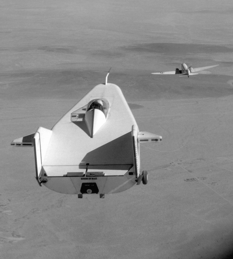 M2-F1 lifting body in tow