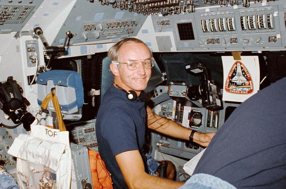 NASA Astronaut Don Williams aboard Space Shuttle Atlantis