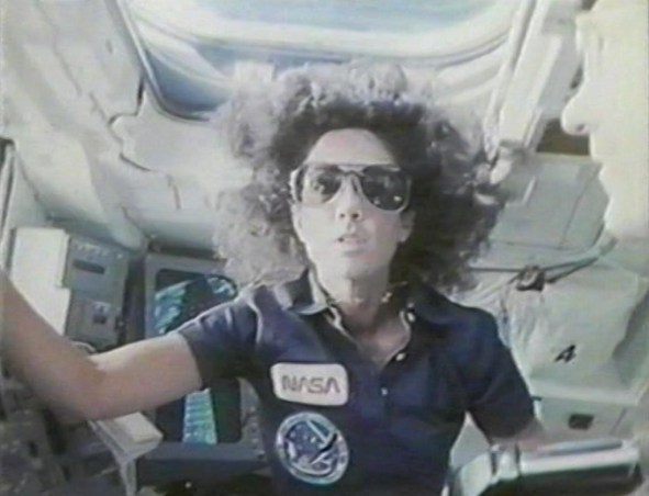 Judy Resnik aboard orbiter Discovery, during STS-41-D