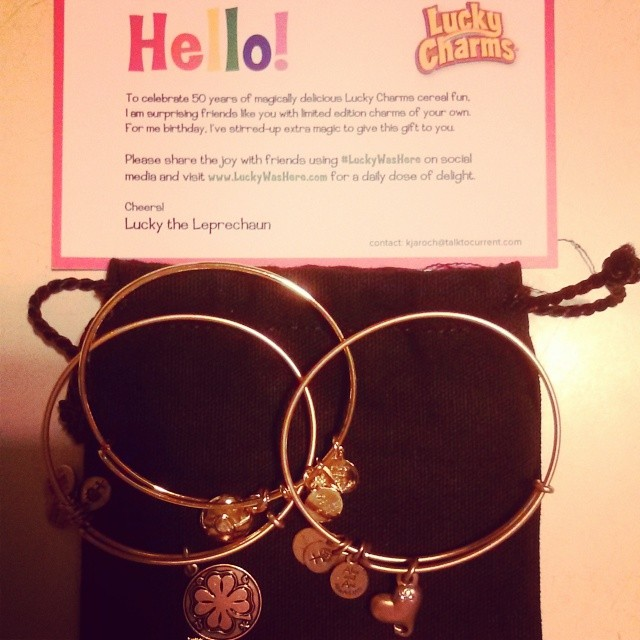 In love with these #alexandani limited edition #luckycharms to celebrate #luckyWasHere 50 years if magically delish cereal fun! #armcandy #goodjuju