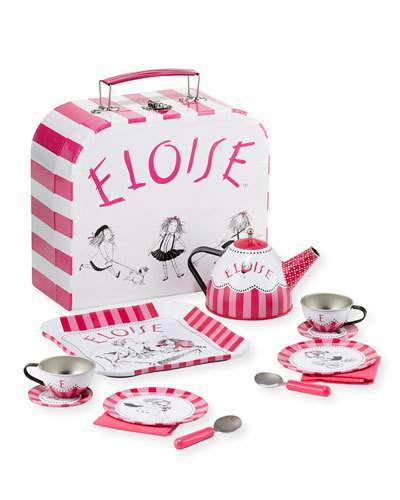 Inspired by the beloved Eloise book illustrations, our Eloise 12-piece Tin Tea Set caters to the rambunctious six-year-old within us all who dreams to live on the top floor at the Plaza Hotel. Includes: a tray, teapot with lid, two cups, two saucers, two plates, two spoons & two napkins. Takealong paperboard suitcase