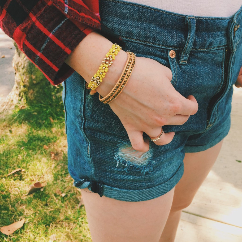 Styled by Madison: Girly Flannel with Shorts   T-Shirt ~ Garage Flannel ~ Forever 21 Shorts ~ Garage Bracelets ~ Claire's Ring ~ Aeropostale Shoes ~ Converse