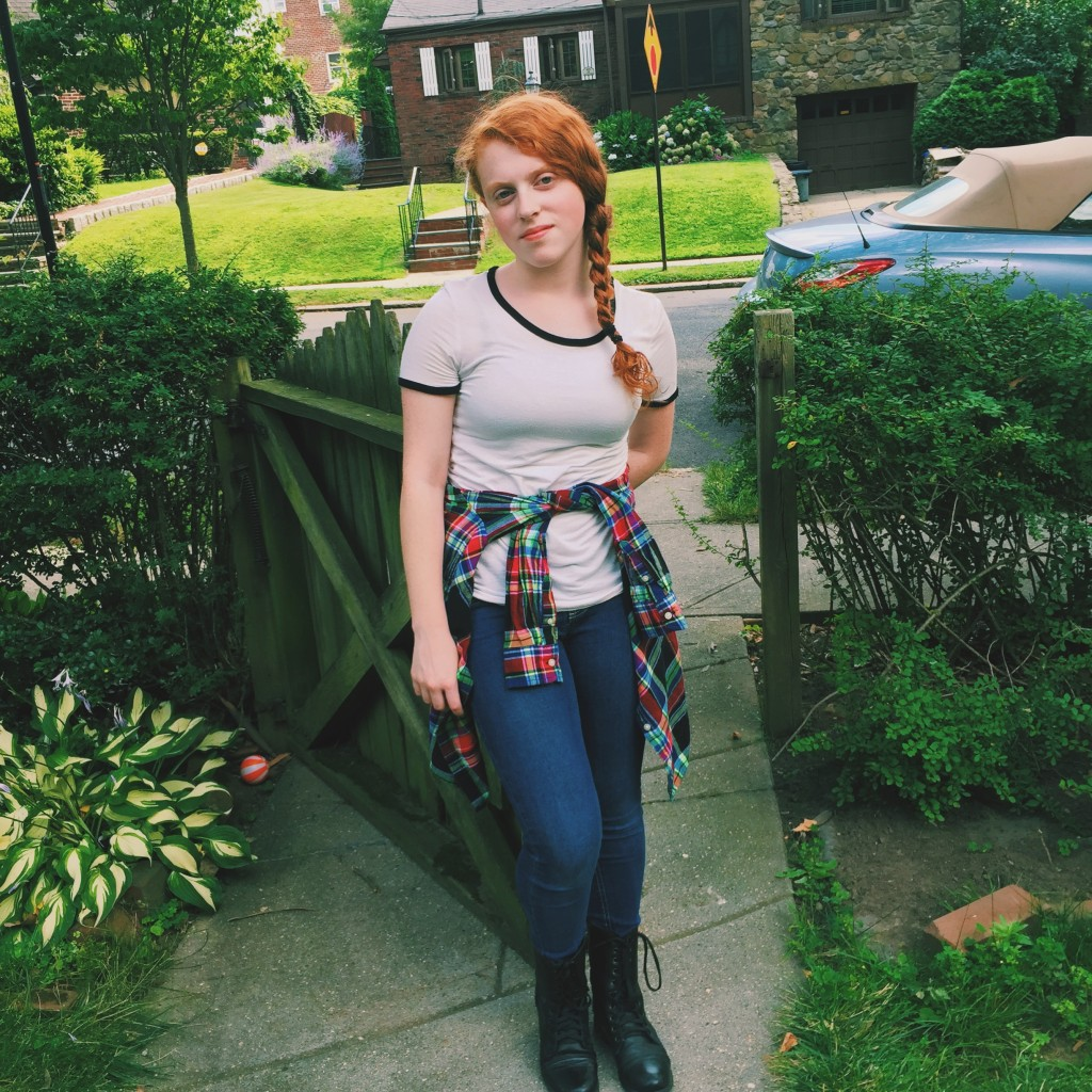 Styled by Madison: Girly Flannel With Jeans  T-Shirt ~ Garage Flannel ~ Ralph Lauren Jeans ~ Children's Place Boots ~ Bakers