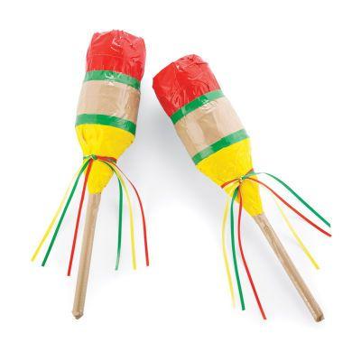 maracas .. duck~tape, plastic bottle.. beans... sticks for handles... FUN