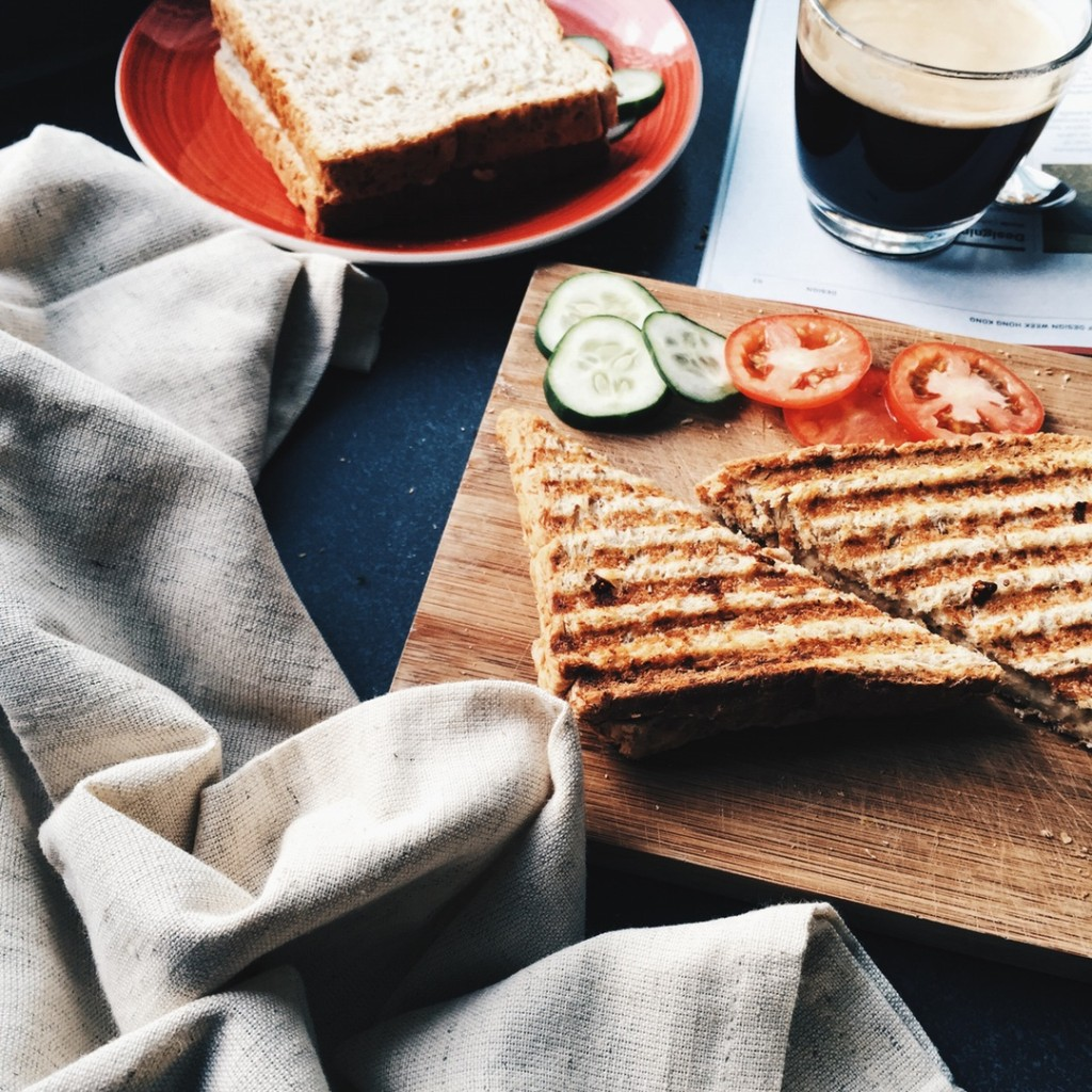 Grilled Cheese Sandwiches Oh, the delicious grilled cheese. Fortunately, making this lunchtime favorite a little healthier takes minimal effort. Simply replace white bread with whole grain bread and consider low-fat or reduced-fat versions of your favorite melting cheeses. Finally, consider adding vegetables like tomatoes and red peppers to your sandwich for a little extra vitamins and nutrients.