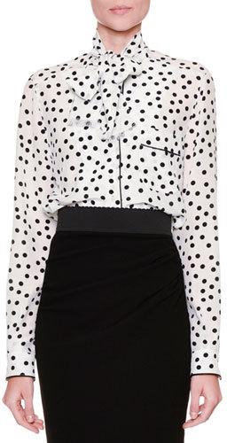 Dolce & Gabbana Tie-Neck Polka-Dot Blouse