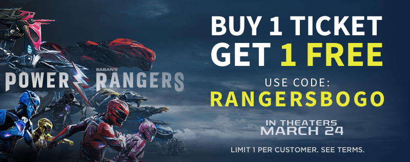 Simply use the Atom Tickets app or website to book your Power Rangers tickets, place 2+ tickets in your cart and enter the code RANGERSBOGO at checkout to receive 1 ticket from your order completely FREE. Take your family to the movies this weekend and enjoy this exclusive limited-time offer ? Buy tickets on the app or from our website here: atm.tk/powerrangers