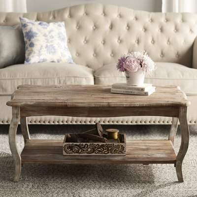 Curved legs and scalloped edges create a stylized look for this Wayfair Francoise Coffee Table. Reclaimed wood wears its history proudly and is long lasting Finish Milk paint. Wood is a natural material; our reclaimed wood furniture wears its history proudly.